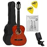 NAVARRA NV11PK Starter Set guitarra clásica 4/4 marrón, bolsa/Gig Bag, libro con CD, afinador (tuner),2 púas
